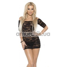 Комплект Mini Dress & String черный: комбинация + трусики-стринги (модель R563010) - Фото №1