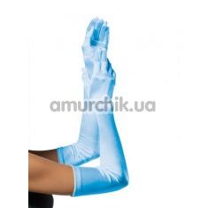 Перчатки Extra Long Satin Gloves, голубые - Фото №1