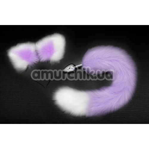 Анальная пробка Пикантные Штучки S с хвостом и ушками, фиолетовая