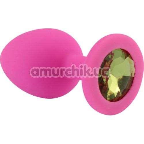 Анальная пробка с салатовым кристаллом SWAROVSKI Zcz, розовая - Фото №1