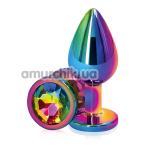 Анальная пробка с радужным кристаллом SWAROVSKI Rear Assets M, радужная - Фото №1