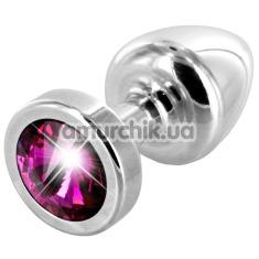 Анальная пробка с розовым кристаллом SWAROVSKI Anni, серебряная - Фото №1