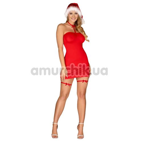 Костюм Санты Obsessive Kissmas красный: платье + шапка + чокер + подвязки - Фото №1