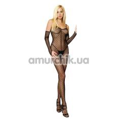Комплект Leg Avenue (модель 8254) черный: комбинезон + перчатки - Фото №1