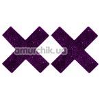 Украшения для сосков Titty Sticker, крестики фиолетовые - Фото №1