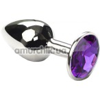 Анальная пробка с фиолетовым кристаллом SWAROVSKI Silver Electric Indigo Small, серебряная - Фото №1