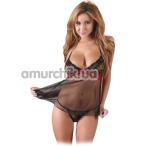 Комплект Cotelli Collection Lingerie Babydoll 2740842 черный: пеньюар + трусики-стринги