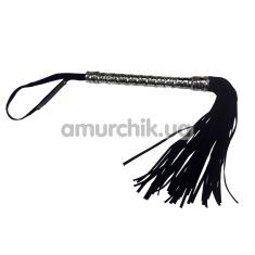 Плеть Royal BDSM с серебряной рукояткой, черная - Фото №1
