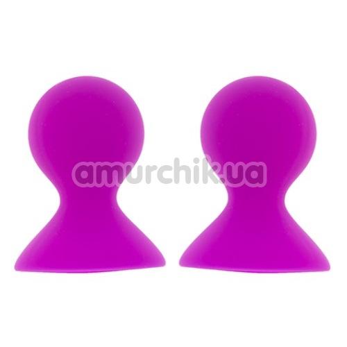 Вакуумные стимуляторы для сосков Lit-Up Silicone Nipple Suckers Pleasure Pumps, розовые - Фото №1