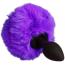 Анальная пробка с фиолетовым хвостиком Loveshop S, черная - Фото №1