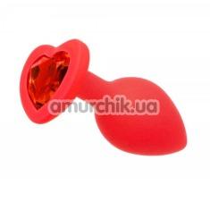 Анальная пробка с красным кристаллом Loveshop Seamless Butt Plug Heart M, красная - Фото №1