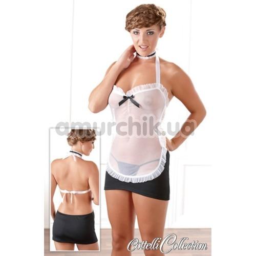 Костюм горничной Cottelli Collection 2470438 чёрный: мини-платье + трусики-стринги + чокер