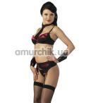 Комплект Cottelli Collection 2210630 чёрно-красный: трусики + бюстгальтер + манжеты + галстук - Фото №1