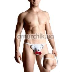 Трусы-стринги мужские Thong белые мишка (модель 4492) - Фото №1