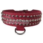 Ошейник DS Fetish Leather Rivet & Crystal, красный - Фото №1