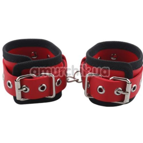 Фиксаторы для рук Handcuffs Woven Belt Edge Sealing With Chain, красные