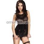 Костюм горничной Chilirose (модель CR-3468) черный: платье + трусики + повязка на голову + подвязка
