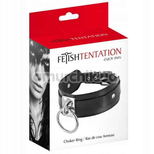 Ошейник с кольцом Fetish Tentation Choker Ring, чёрный