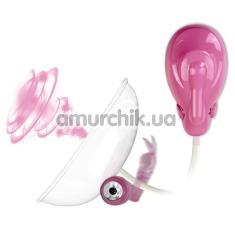 Вакуумная помпа с вибрацией для клитора Resonating Automatic Clitoral Pump, розовая - Фото №1