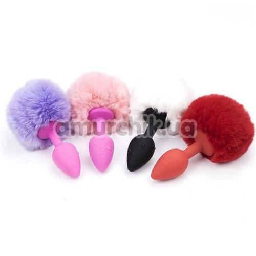 Анальная пробка с розовым хвостиком Honey Bunny Tail, розовая