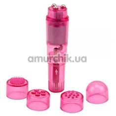 Клиторальный вибратор с насадками Hi-Basic, розовый - Фото №1