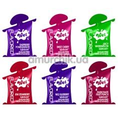 Оральный лубрикант Wet Flavored Gel Lubricant, 10 мл в ассортименте - Фото №1