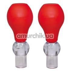 Вакуумные стимуляторы для сосков Bad Kitty Nipple Pump, красные - Фото №1