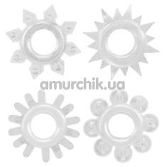 Набор из 4 эрекционных колец Get Lock Cock Rings Set, прозрачный - Фото №1