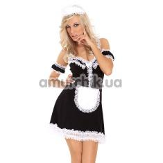 Костюм горничной Cloe: платье + передник + нарукавники + чепчик - Фото №1