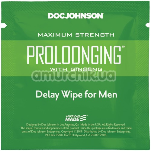 Салфетка-пролонгатор Doc Johnson Prolonging Delay Wipe