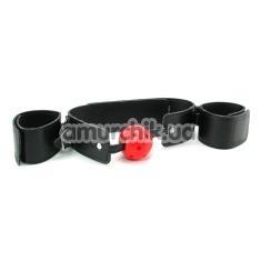 Кляп с фиксаторами для рук Breathable Ball Gag Restraint, чёрно-красный - Фото №1