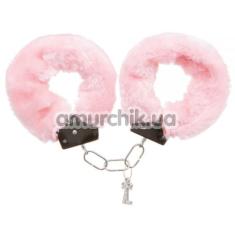 Наручники с розовым мехом Loveshop, серебряные - Фото №1