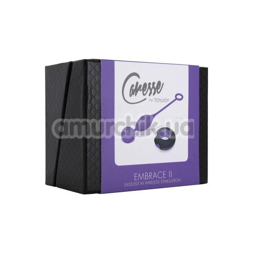 Вагинальные шарики с вибрацией Caresse Embrace 2, фиолетовые