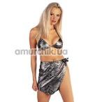 Комплект Joyce Jones Sarong Set серебряный: бюстгальтер + трусики-стринги + юбка - Фото №1