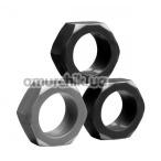 Набор из 3 эрекционных колец Tom of Finland 3 Piece Cock Nuts, черный - Фото №1