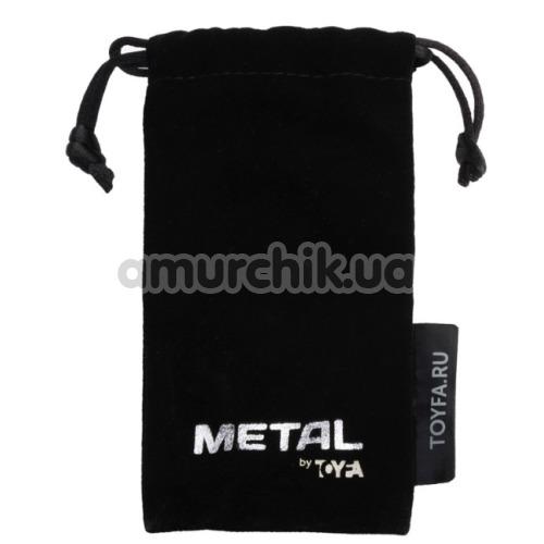 Анальная пробка с черным кристаллом Toyfa Metal 717002-5, серебряная