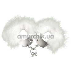Наручники Adrien Lastic Menottes Metal Handcuffs With Feather, белые - Фото №1