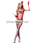 Костюм медсестры JSY Sexy Lingerie 6001 белый: трусики-стринги + чулки + бюстгальтер + юбочка + чулки + головной убор + стетоскоп - Фото №1