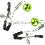 Зажимы для сосков Nipple Golden Bells с колокольчиками, зеленые - Фото №1