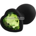 Анальная пробка с салатовым кристаллом Silicone Jewelled Butt Plug Heart Small, черная - Фото №1