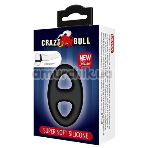 Эрекционное кольцо Crazy Bull Super Soft Silicone Cock Ring овальное, черное