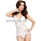 Комплект Elodie белый: корсет + трусики-стринги - Фото №1