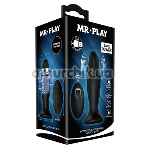 Анальная пробка с вибрацией MR Play Super Rower Powerful Vibrating Anal Plug с головкой, черная