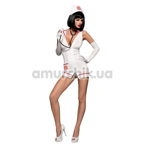 Костюм медсестры Obsessive Emergency белый: платье + обруч + перчатки + стринги + стетоскоп - Фото №1
