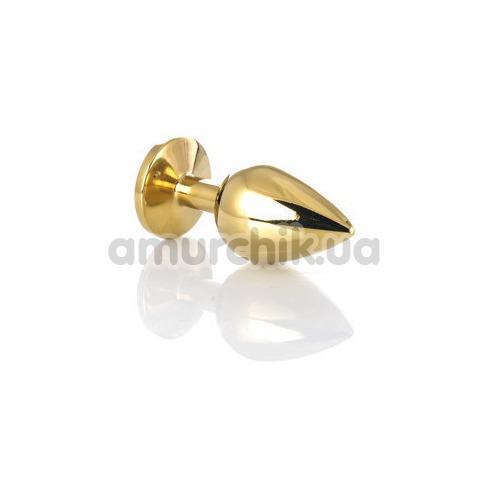 Анальная пробка с черным кристаллом Toyfa Metal 717006-5, золотая