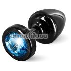 Анальная пробка с голубым кристаллом SWAROVSKI Anni Round T1, черная - Фото №1