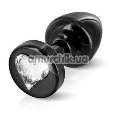 Анальная пробка с прозрачным кристаллом SWAROVSKI Anni R Heart T2, черная - Фото №1