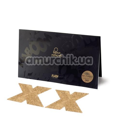 Украшения для сосков Bijoux Indiscrets Flash Glitter Pasties Cross, золотые - Фото №1