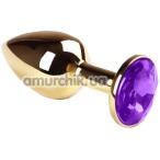 Анальная пробка с фиолетовым кристаллом SWAROVSKI Gold Violet Small, золотая - Фото №1