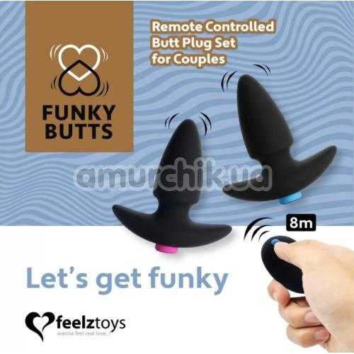 Набор из 2 анальных пробок с вибрацией FeelzToys FunkyButts, черный